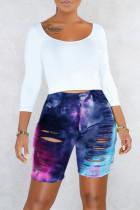 Deep Blue Fashion Casual Print Tie Dye Ripped High Waist Jeans
