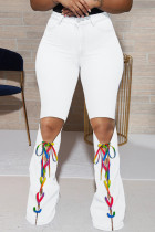 White Fashion Casual Solid Ripped Bandage High Waist Regular Jeans