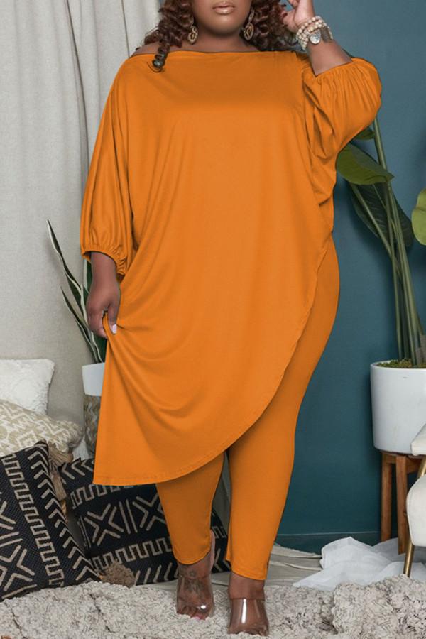 Orange Fashion Casual Solid Asymmetrical Oblique Collar Plus Size Two Pieces