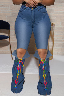Blue Fashion Casual Solid Ripped Bandage High Waist Regular Jeans