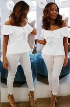 White Fashion Slash neck Short Blouses & Shirts