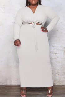 White Fashion Casual Plus Size Solid Bandage Hollowed Out V Neck Long Sleeve Dresses