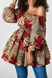 Red Sexy Print Split Joint One Shoulder Cake Skirt Dresses
