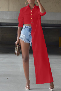 Red Fashion Casual Solid Asymmetrical Turndown Collar Tops