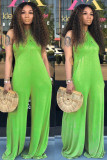Green Casual Solid Sleeveless Slip Jumpsuits