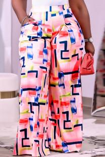 Light Pink Fashion Casual Print Basic Regular High Waist Wide Leg Trousers