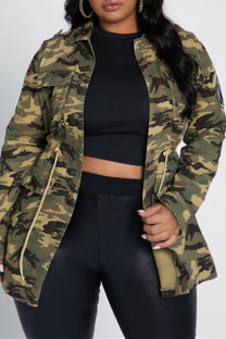 Camouflage Fashion Casual Camouflage Print Cardigan Turndown Collar Plus Size Coats