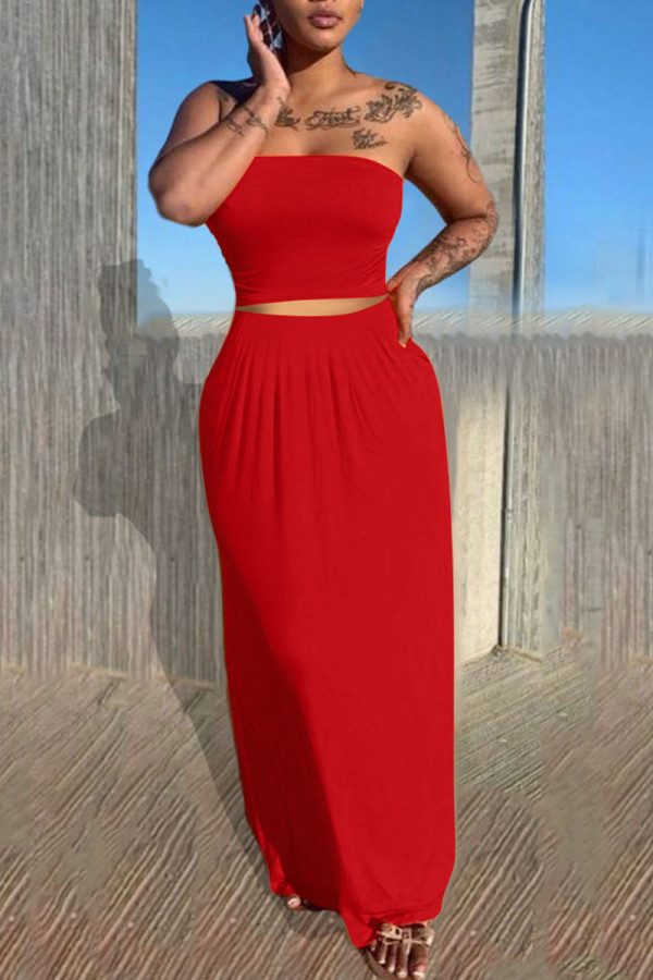 Red Casual Solid Split Joint Strapless Sleeveless Two Pieces