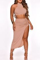 Red Bean Powder Fashion Sexy Solid Bandage Backless Halter Sleeveless Two Pieces