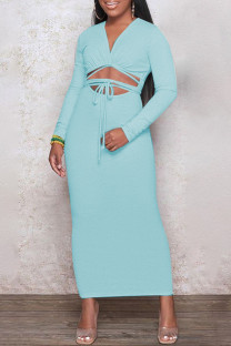 Light Blue Fashion Casual Solid Leopard Bandage Hollowed Out V Neck Long Sleeve Dresses