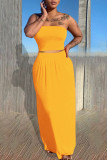 Grey Casual Solid Split Joint Strapless Sleeveless Two Pieces