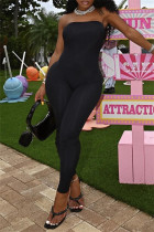 Black Sexy Casual Solid Backless Strapless Skinny Jumpsuits