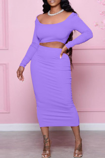 Purple Sexy Casual Solid Backless Square Collar Long Sleeve Two Pieces