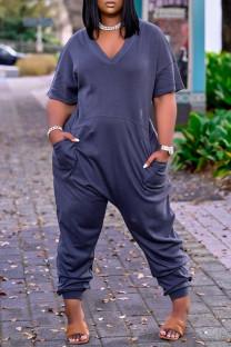 Blue Fashion Casual Solid Basic V Neck Plus Size Jumpsuits