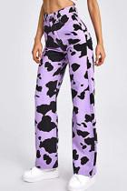 Purple Casual Print Split Joint High Waist Straight Denim Jeans