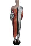 Stripe Fashion Casual Print Asymmetrical Oblique Collar Three Quarter Two Pieces