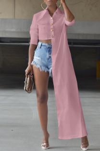 Pink Fashion Casual Solid Asymmetrical Turndown Collar Tops