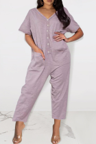Purple Casual Solid Split Joint V Neck Loose Jumpsuits