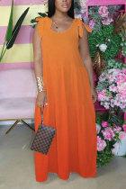 Orange Fashion Bohemian Gradual Change Print Bandage Spaghetti Strap Swagger Dresses