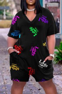 Black Fashion Casual Print Basic V Neck Plus Size Short Sleeve Romper