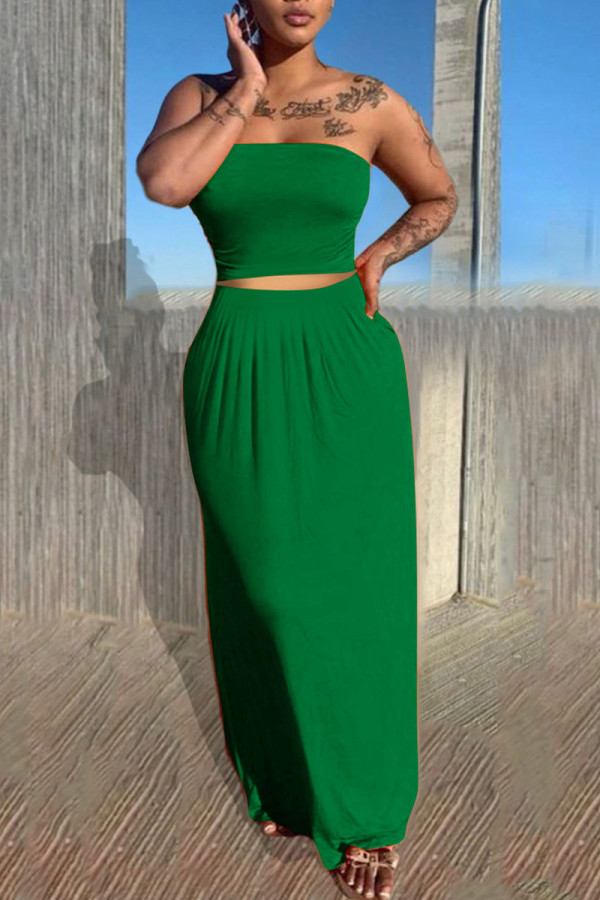 Green Casual Solid Split Joint Strapless Sleeveless Two Pieces