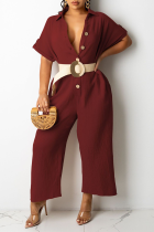 Burgundy Casual Solid Split Joint Turndown Collar Straight Jumpsuits(Without Belt)