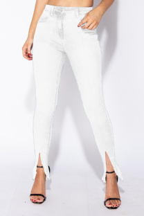 White Casual Solid Split Joint Mid Waist Boot Cut Denim Jeans
