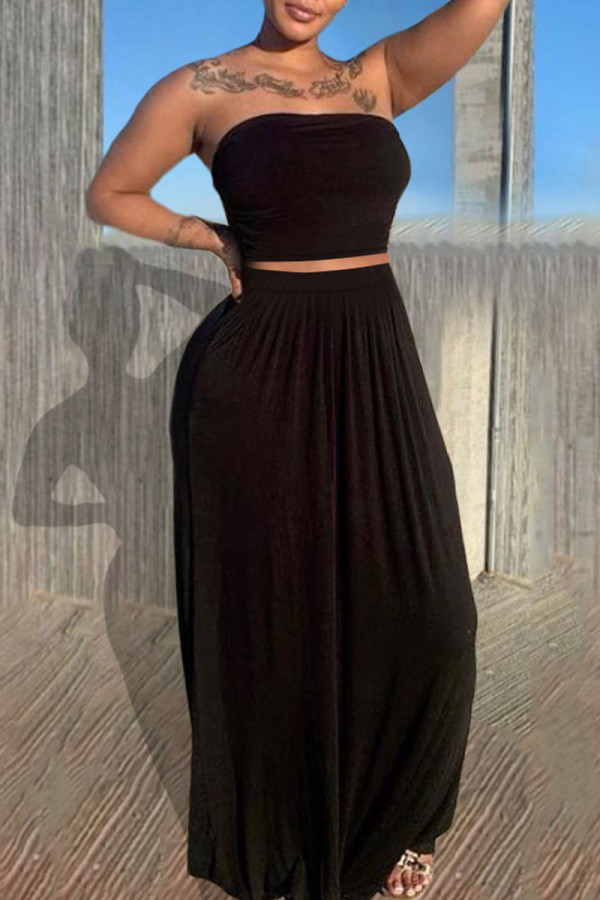 Black Casual Solid Split Joint Strapless Sleeveless Two Pieces