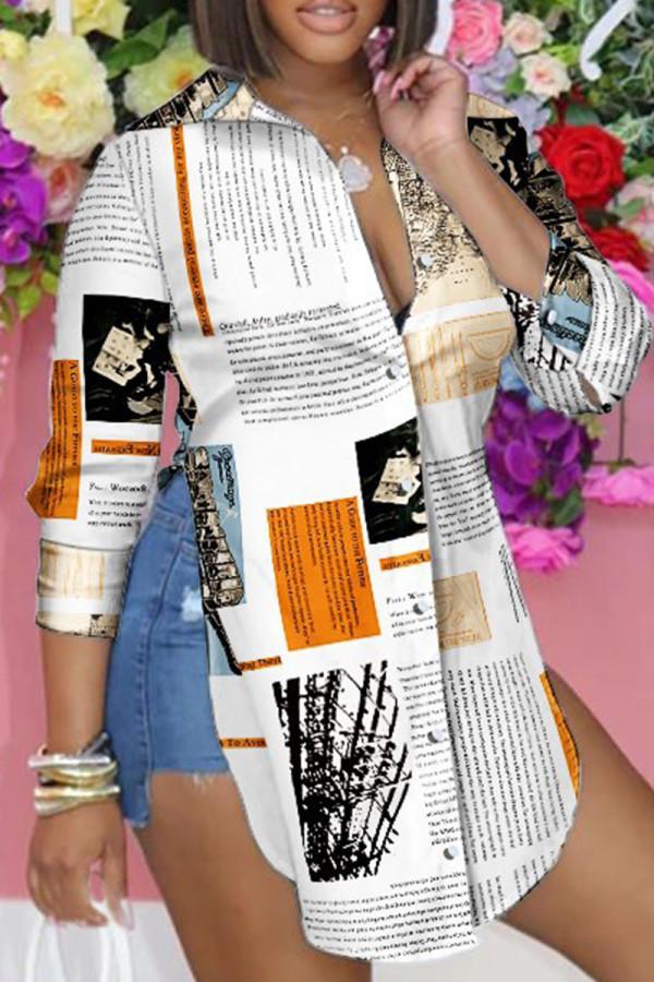Yellow White Casual Print Split Joint Slit Turndown Collar Tops