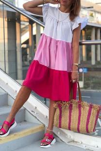 Rose Red Casual Color Block Flounce O Neck Cake Skirt Dresses