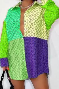 Green Casual Print Split Joint Turndown Collar Shirt Dress Dresses