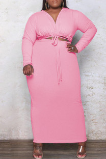 Pink Fashion Casual Plus Size Solid Bandage Hollowed Out V Neck Long Sleeve Dresses