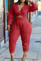 Red Fashion Casual Solid Basic V Neck Long Sleeve Two Pieces