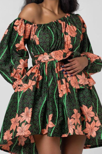 Green Sexy Print Split Joint One Shoulder Cake Skirt Dresses