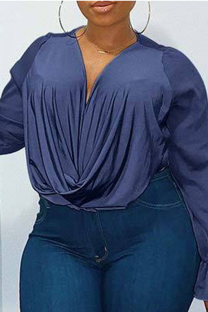 Blue Casual Solid Mesh O Neck Plus Size Tops