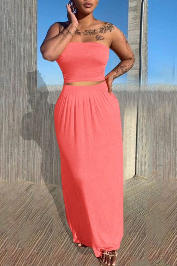 Pink Casual Solid Split Joint Strapless Sleeveless Two Pieces