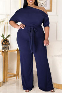 Dark Blue Fashion Casual Solid Backless With Belt Oblique Collar Plus Size Jumpsuits