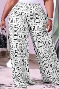 Letter Print Fashion Casual Print Basic Regular High Waist Wide Leg Trousers