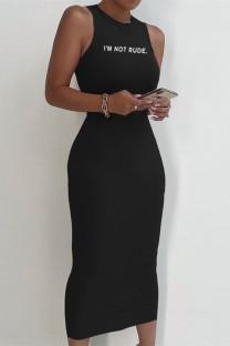 Black Sexy Casual Letter Print Basic O Neck Vest Dress
