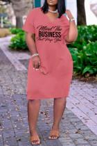 Rose Red Fashion Casual Letter Print Basic V Neck Short Sleeve Dress