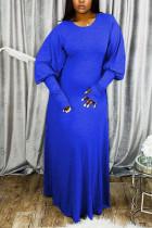 Blue OL Long Sleeves O neck Lantern skirt Ankle-Length Solid Dresses