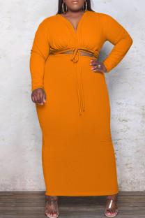 Orange Fashion Casual Plus Size Solid Bandage Hollowed Out V Neck Long Sleeve Dresses