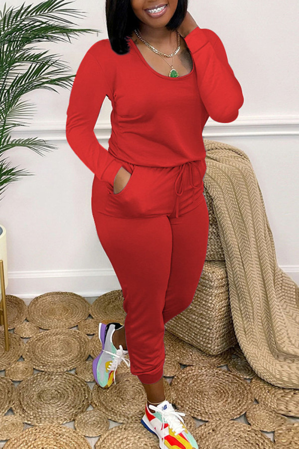 Red Casual Solid Split Joint O Neck Skinny Jumpsuits