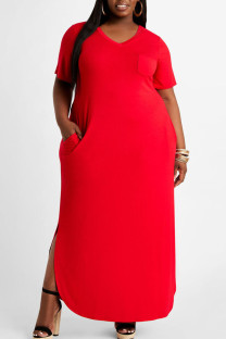 Red Sexy Solid Split Joint Pocket Asymmetrical V Neck Straight Plus Size Dresses