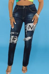 Black Fashion Casual Patchwork Basic Mid Waist Regular Denim Jeans