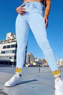 Light Blue Fashion Casual Print Basic High Waist Regular Jeans