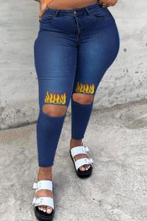 Deep Blue Fashion Casual Print Ripped High Waist Regular Jeans