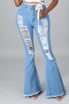 Light Blue Sexy Solid Ripped Mid Waist Boot Cut Denim Jeans