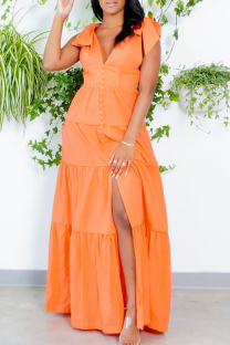 Tangerine Red Casual Solid Split Joint V Neck Trumpet Mermaid Dresses