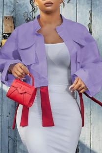 Light Purple Fashion Casual Solid Split Joint Turndown Collar Outerwear